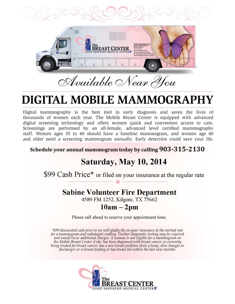 Mobile Mammo Flier for Sabine Fire Dept - May 2014